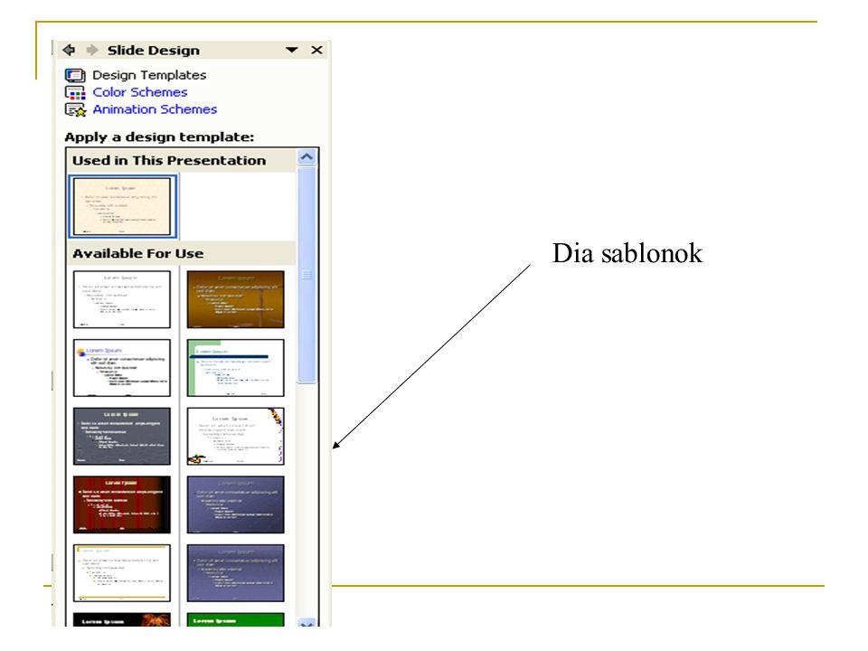 Néhány tipp a háttér szépítéséhez 3. Format - Slide Design – Design Templates menüpont - a program felkínál előre elkészített háttérsablonokat