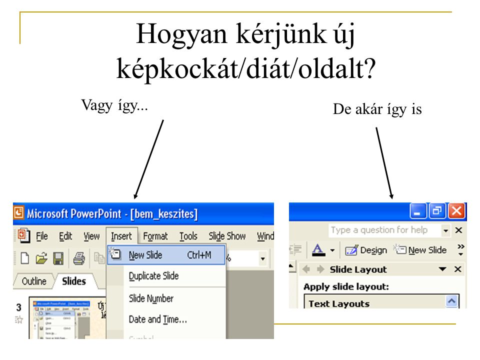 A végén érdemes beállítani az oldalak sorrendjét Ehhez nyújtanak segítséget a képernyő bal alsó sarkában lévő Nézet-gombok Egy képkocka szerkesztő üzemmódban Jegyzeteket is fűzhetünk az egyes oldalakhoz, ami a vetítés során láthatatlan Vetítés nézet - ezt látjuk most Diarendező - tehát egyszerre látjuk az összes kockát Tagolt megjelenítés, vagyis szerkezeti vázlat