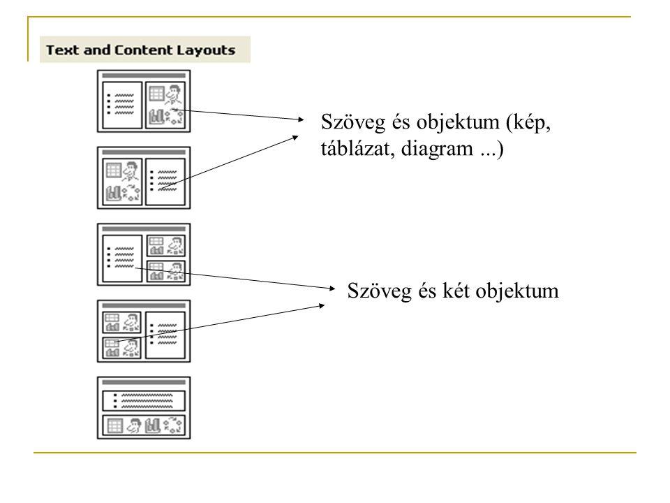 Szöveg és objektum (kép, táblázat, diagram...) Szöveg és két objektum