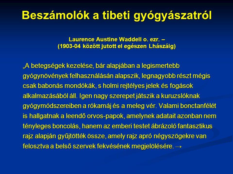 """Beszámolók a tibeti gyógyászatról Laurence Austine Waddell o. ezr. – (1903-04 között jutott el egészen Lhászáig) """"A betegségek kezelése, bár alapjában"""