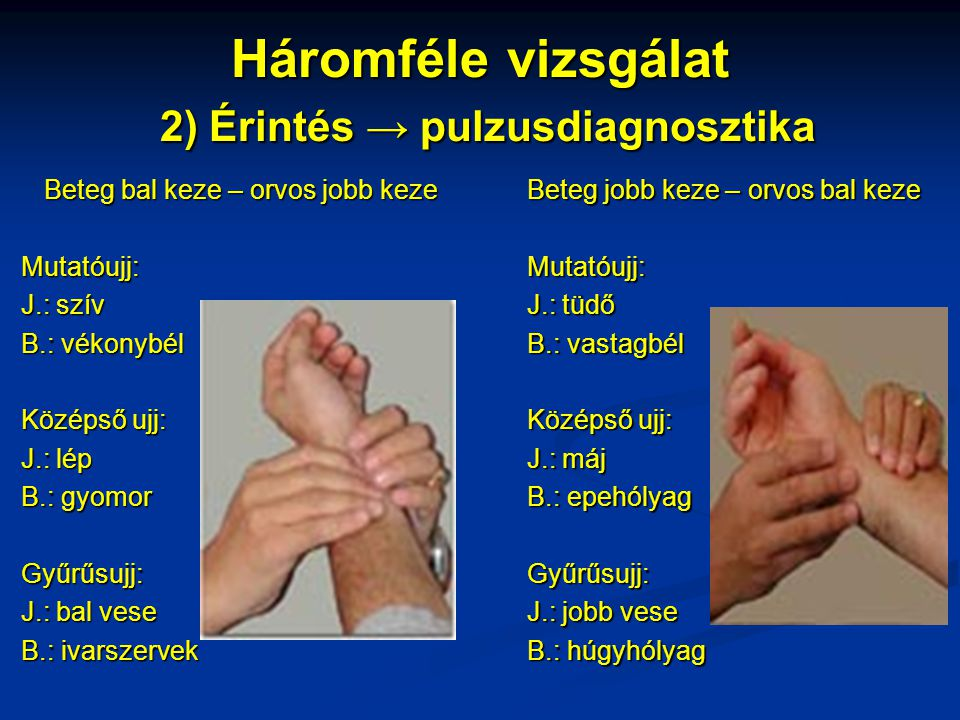 Háromféle vizsgálat 2) Érintés → pulzusdiagnosztika Beteg bal keze – orvos jobb keze Mutatóujj: J.: szív B.: vékonybél Középső ujj: J.: lép B.: gyomor