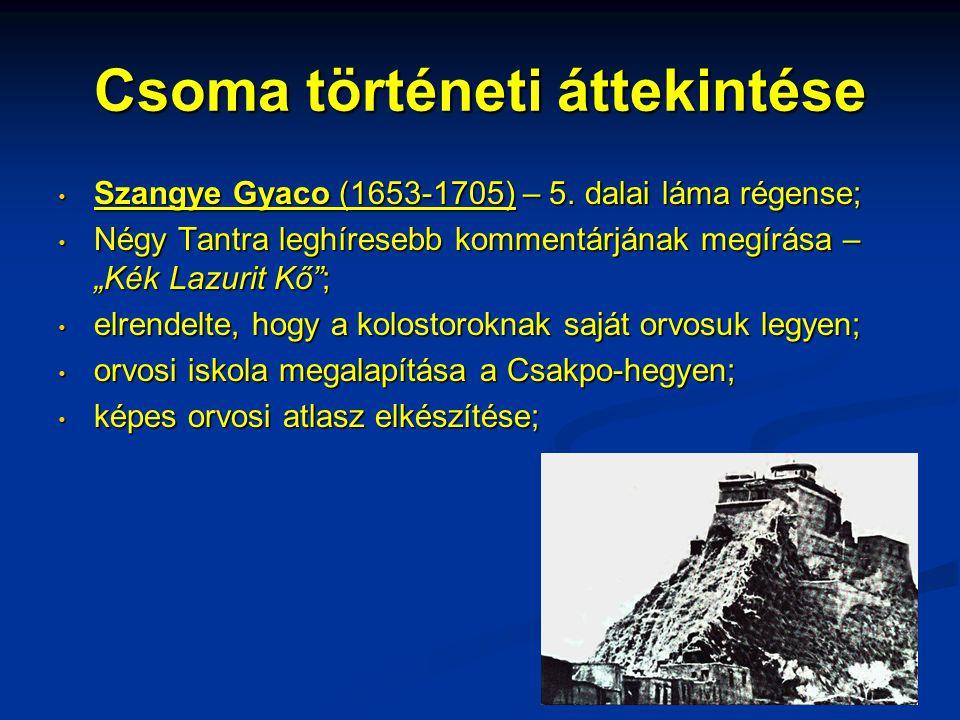 """Csoma történeti áttekintése • Szangye Gyaco (1653-1705) – 5. dalai láma régense; • Négy Tantra leghíresebb kommentárjának megírása – """"Kék Lazurit Kő"""";"""