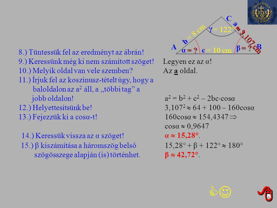 Kihagyom ezt a feladatot Kihagyom ezt a feladatot 2932. feladat Egy háromszög két oldala 10 cm, illetve 8 cm hosszúságú. A hosszabbik megadott oldalla
