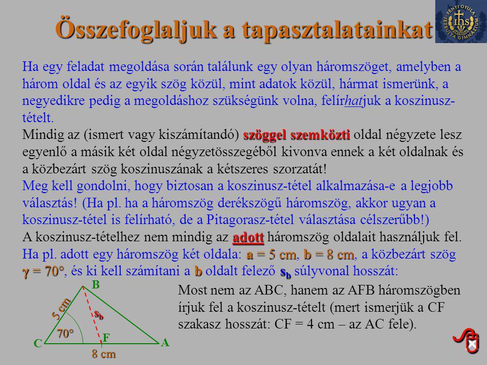 Összefoglaljuk a tapasztalatainkat Ha egy feladat megoldása során találunk egy olyan háromszöget, amelyben a három oldal és az egyik szög közül, mint adatok közül, hármat ismerünk, a negyedikre pedig a megoldáshoz szükségünk volna, felírhatjuk a koszinusz- tételt.