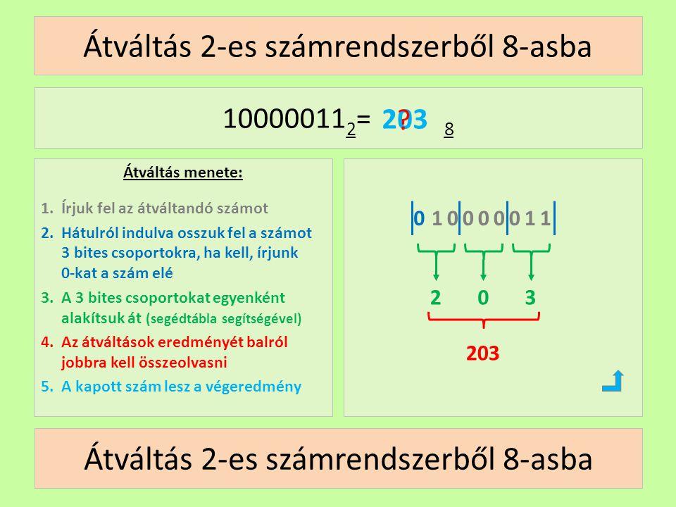 Átváltás 2-es számrendszerből 8-asba Átváltás menete: 1.Írjuk fel az átváltandó számot 2.Hátulról indulva osszuk fel a számot 3 bites csoportokra, ha