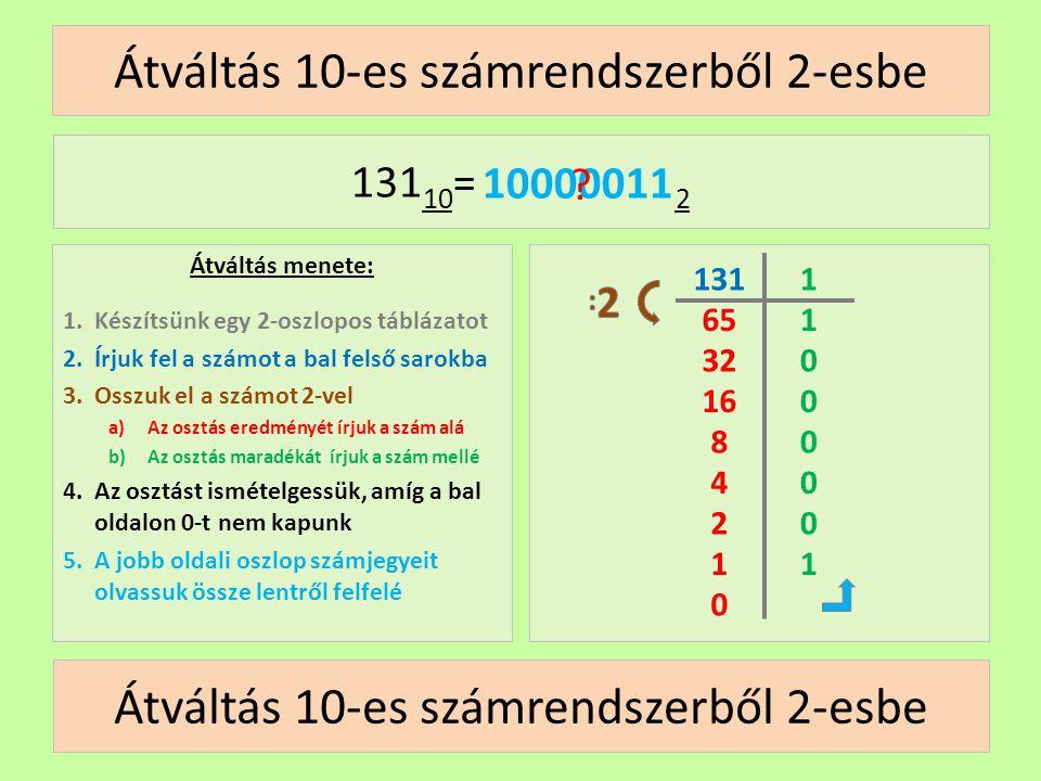 65 Átváltás 10-es számrendszerből 2-esbe Átváltás menete: 1.Készítsünk egy 2-oszlopos táblázatot 2.Írjuk fel a számot a bal felső sarokba 3.Osszuk el