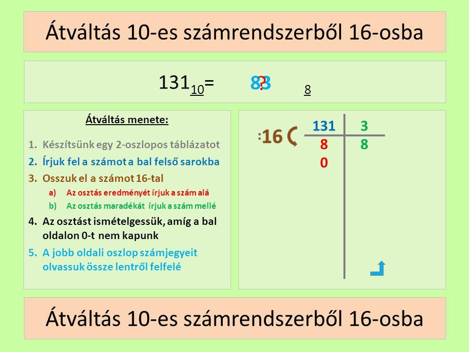 8 Átváltás 10-es számrendszerből 16-osba Átváltás menete: 1.Készítsünk egy 2-oszlopos táblázatot 2.Írjuk fel a számot a bal felső sarokba 3.Osszuk el
