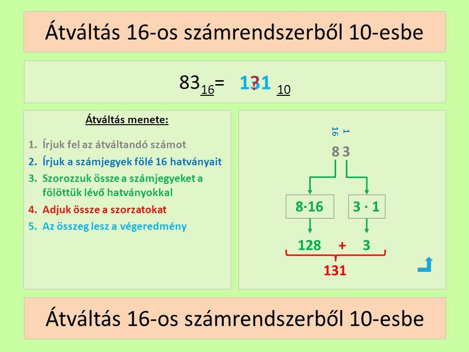 1 16 Átváltás 16-os számrendszerből 10-esbe Átváltás menete: 1.Írjuk fel az átváltandó számot 2.Írjuk a számjegyek fölé 16 hatványait 3.Szorozzuk össz