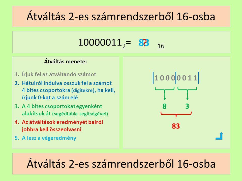 Átváltás 2-es számrendszerből 16-osba Átváltás menete: 1.Írjuk fel az átváltandó számot 2.Hátulról indulva osszuk fel a számot 4 bites csoportokra (di