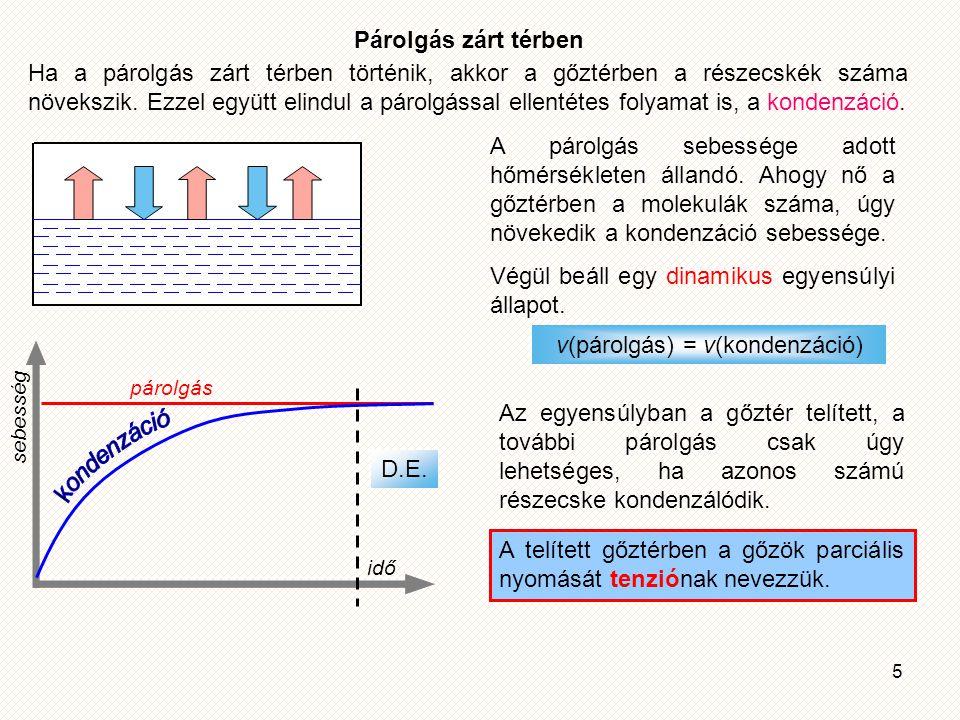 5 Párolgás zárt térben Ha a párolgás zárt térben történik, akkor a gőztérben a részecskék száma növekszik.