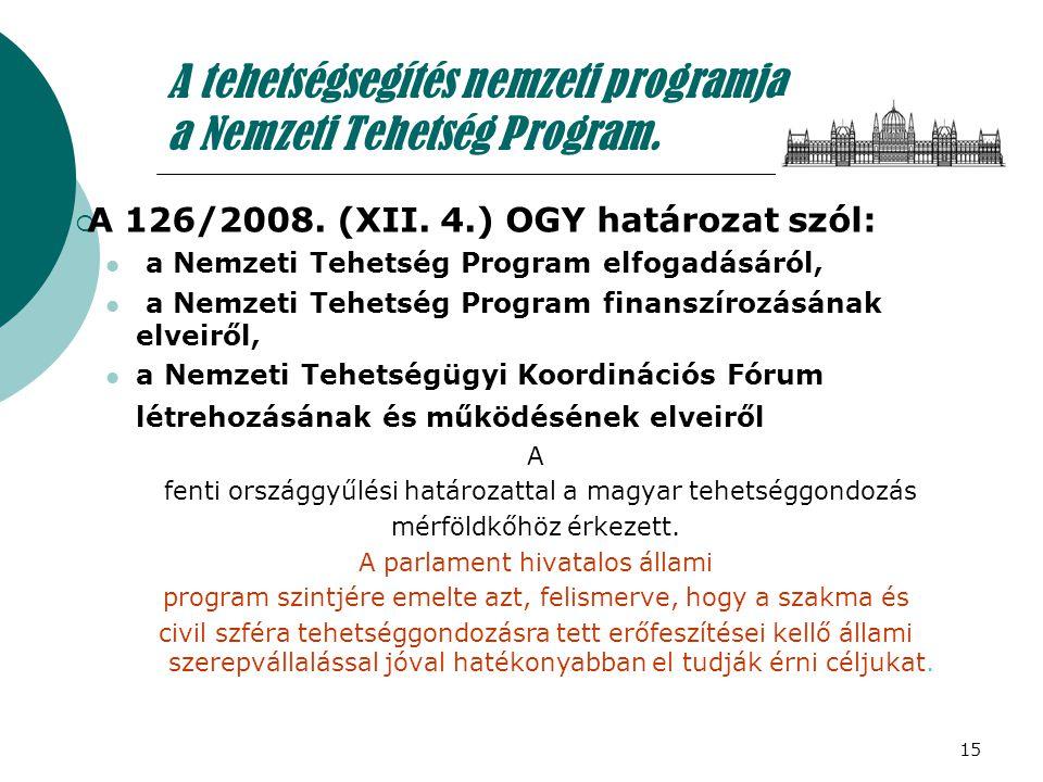 15 A tehetségsegítés nemzeti programja a Nemzeti Tehetség Program.  A 126/2008. (XII. 4.) OGY határozat szól:  a Nemzeti Tehetség Program elfogadásá