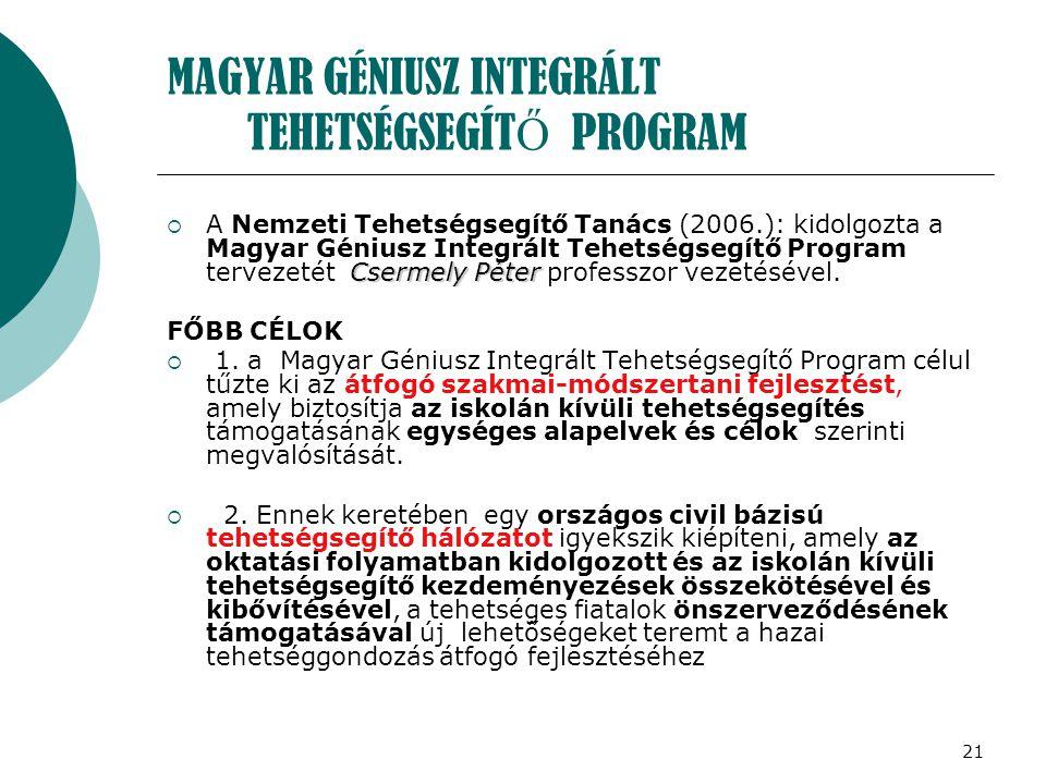 21 MAGYAR GÉNIUSZ INTEGRÁLT TEHETSÉGSEGÍT Ő PROGRAM Csermely Péter  A Nemzeti Tehetségsegítő Tanács (2006.): kidolgozta a Magyar Géniusz Integrált Te
