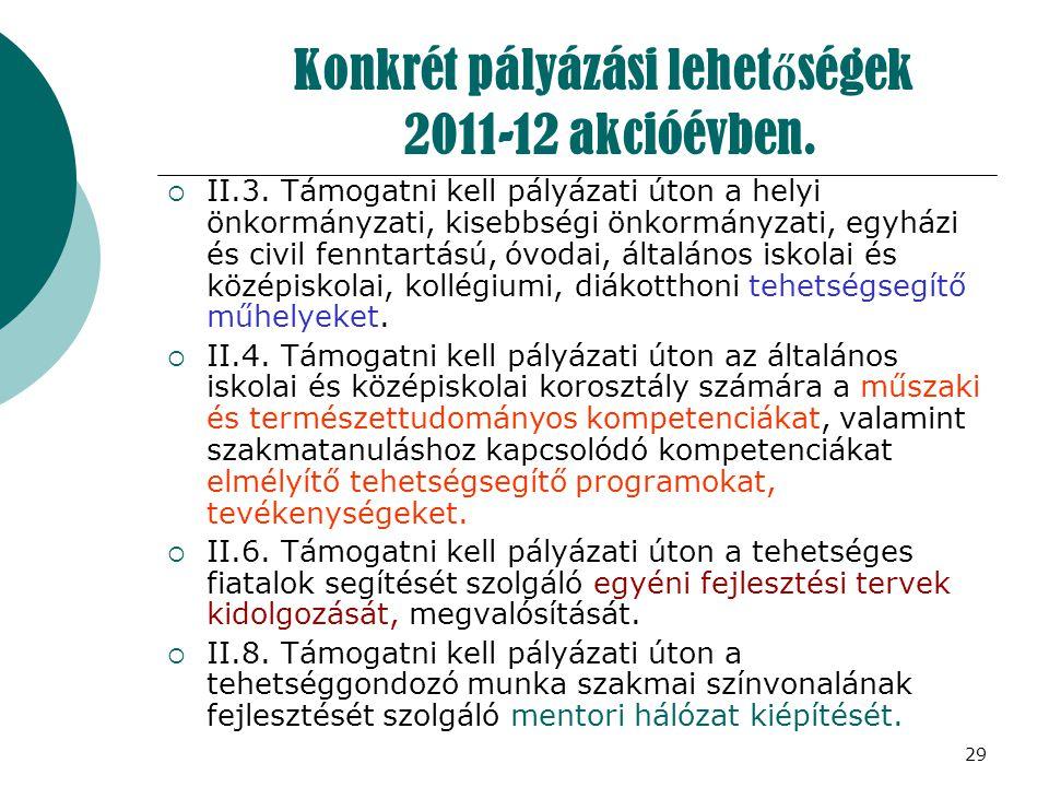 29 Konkrét pályázási lehet ő ségek 2011-12 akcióévben.  II.3. Támogatni kell pályázati úton a helyi önkormányzati, kisebbségi önkormányzati, egyházi