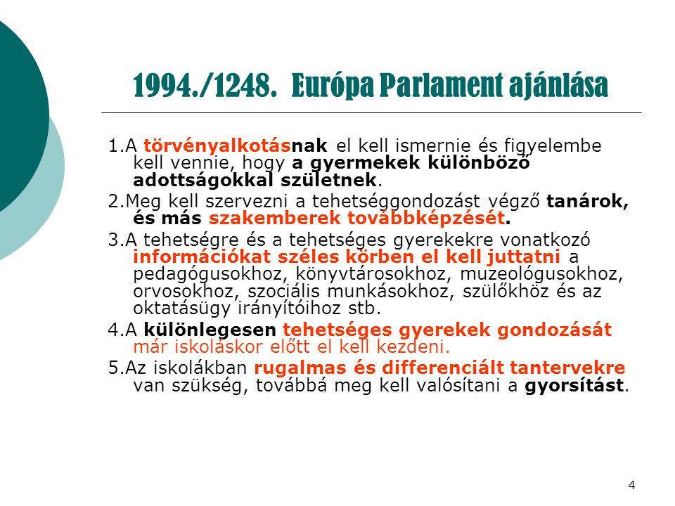 4 1994./1248. Európa Parlament ajánlása 1.A törvényalkotásnak el kell ismernie és figyelembe kell vennie, hogy a gyermekek különböző adottságokkal szü