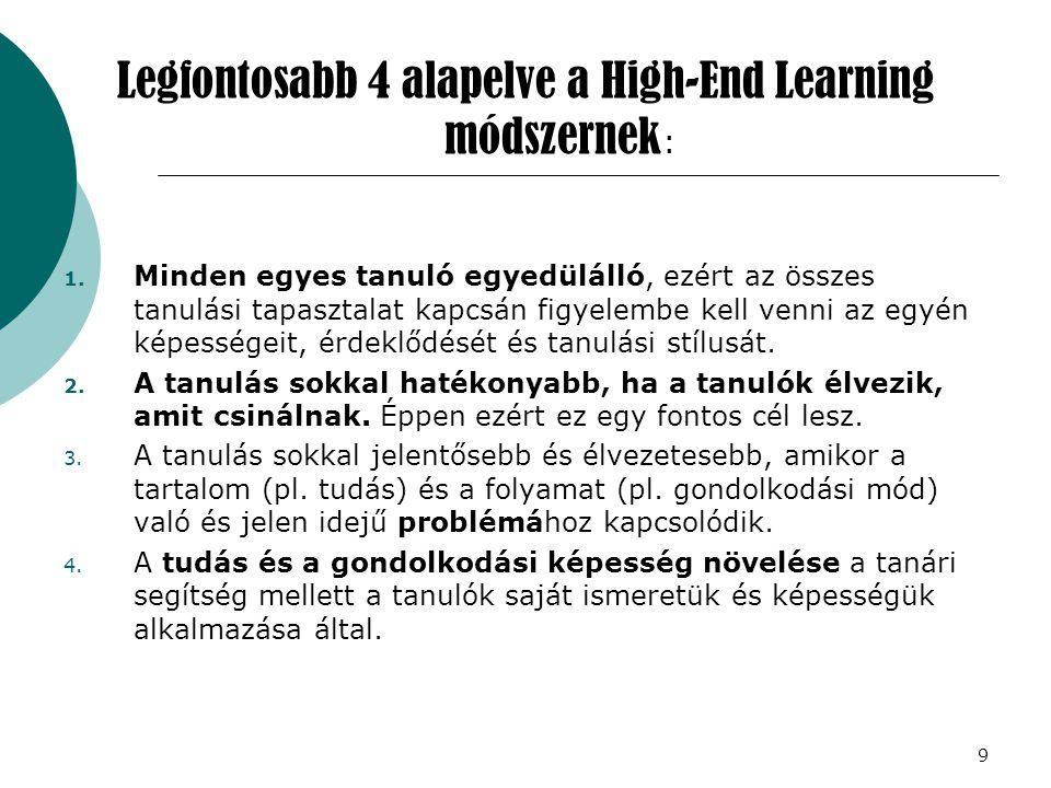 9 Legfontosabb 4 alapelve a High-End Learning módszernek : 1. Minden egyes tanuló egyedülálló, ezért az összes tanulási tapasztalat kapcsán figyelembe