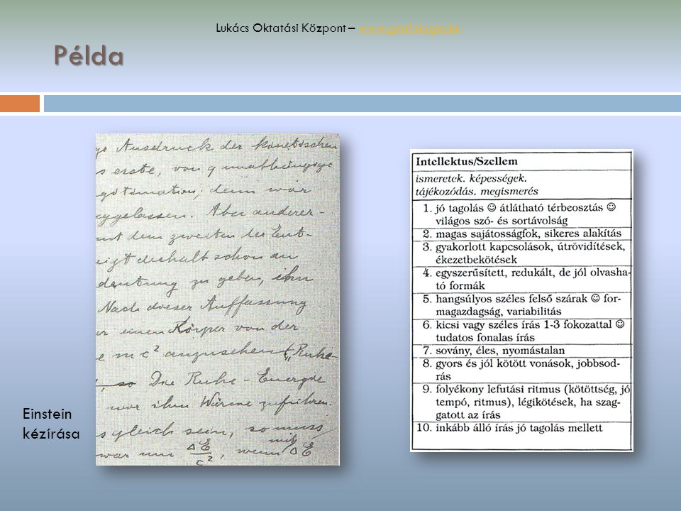 Példa Einstein kézírása Lukács Oktatási Központ – www.grafologia.huwww.grafologia.hu