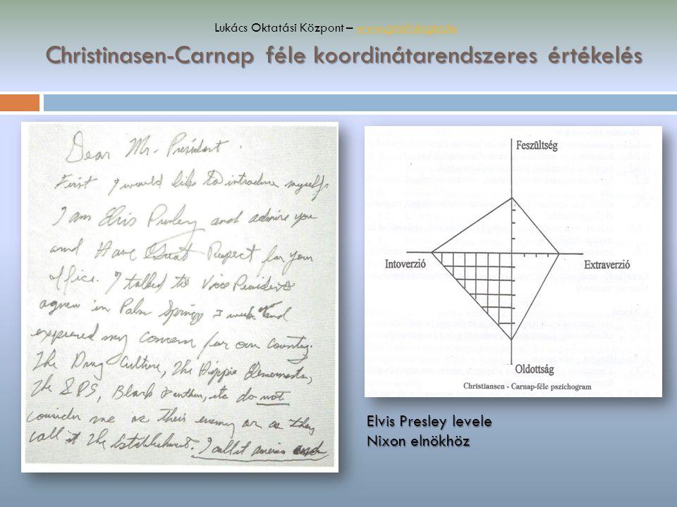 Christinasen-Carnap féle koordinátarendszeres értékelés Elvis Presley levele Nixon elnökhöz Lukács Oktatási Központ – www.grafologia.huwww.grafologia.