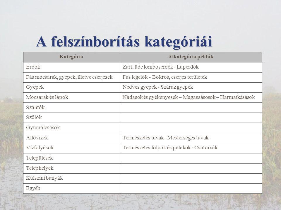 A felszínborítás kategóriái KategóriaAlkategória példák ErdőkZárt, üde lomboserdők - Láperdők Fás mocsarak, gyepek, illetve cserjésekFás legelők - Bokros, cserjés területek GyepekNedves gyepek - Száraz gyepek Mocsarak és lápokNádasok és gyékényesek – Magassásosok – Harmatkásások Szántók Szőlők Gyümölcsösök ÁllóvizekTermészetes tavak - Mesterséges tavak VízfolyásokTermészetes folyók és patakok - Csatornák Települések Telephelyek Külszíni bányák Egyéb