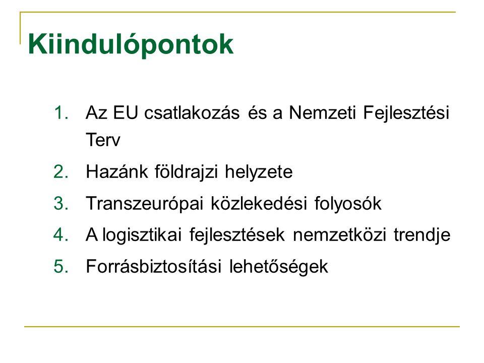 Kiindulópontok 1.Az EU csatlakozás és a Nemzeti Fejlesztési Terv 2.Hazánk földrajzi helyzete 3.Transzeurópai közlekedési folyosók 4.A logisztikai fejlesztések nemzetközi trendje 5.Forrásbiztosítási lehetőségek