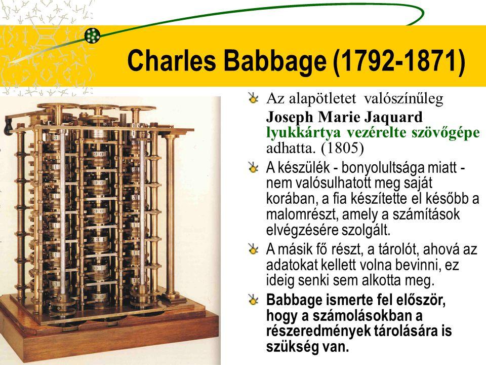 Charles Babbage (1792-1871) Az alapötletet valószínűleg Joseph Marie Jaquard lyukkártya vezérelte szövőgépe adhatta. (1805) A készülék - bonyolultsága