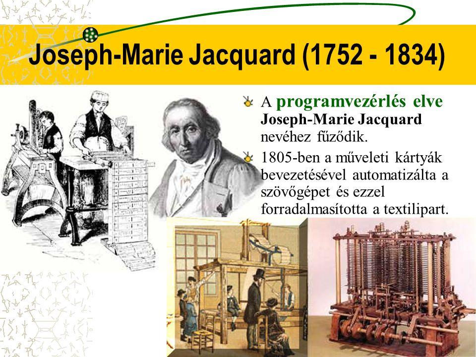 Joseph-Marie Jacquard (1752 - 1834) A programvezérlés elve Joseph-Marie Jacquard nevéhez fűződik. 1805-ben a műveleti kártyák bevezetésével automatizá