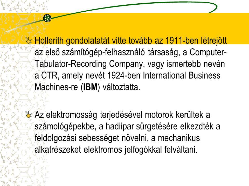 Hollerith gondolatatát vitte tovább az 1911-ben létrejött az első számítógép-felhasználó társaság, a Computer- Tabulator-Recording Company, vagy ismer