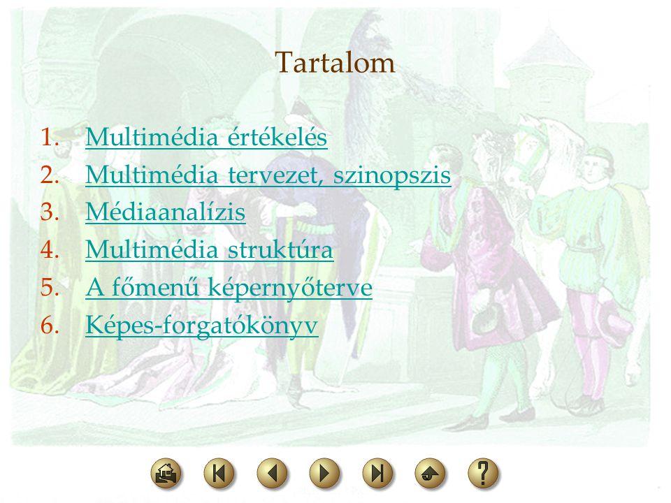 Tartalom 1.Multimédia értékelésMultimédia értékelés 2.Multimédia tervezet, szinopszisMultimédia tervezet, szinopszis 3.MédiaanalízisMédiaanalízis 4.Mu