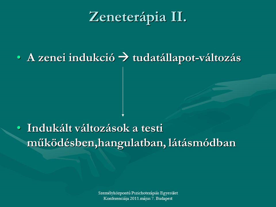 Személyközpontú Pszichoterápiás Egyesület Konferenciája 2011.május 7. Budapest Zeneterápia II. •A zenei indukció  tudatállapot-változás •Indukált vál
