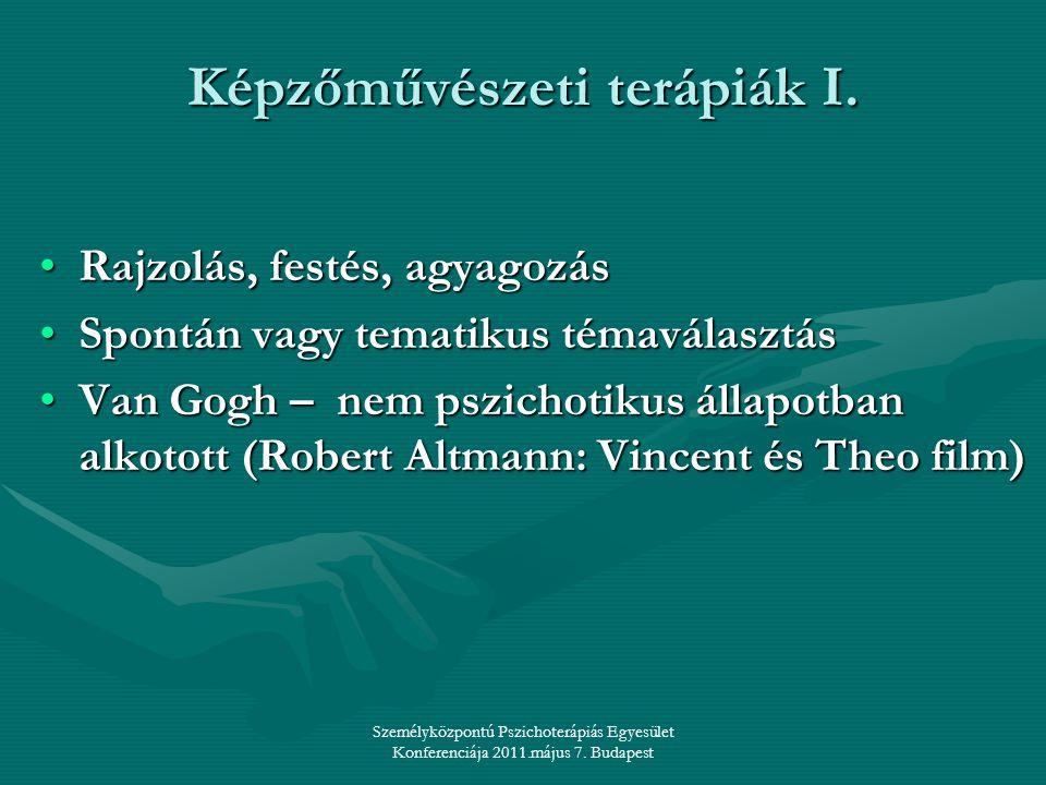Személyközpontú Pszichoterápiás Egyesület Konferenciája 2011.május 7. Budapest Képzőművészeti terápiák I. •Rajzolás, festés, agyagozás •Spontán vagy t