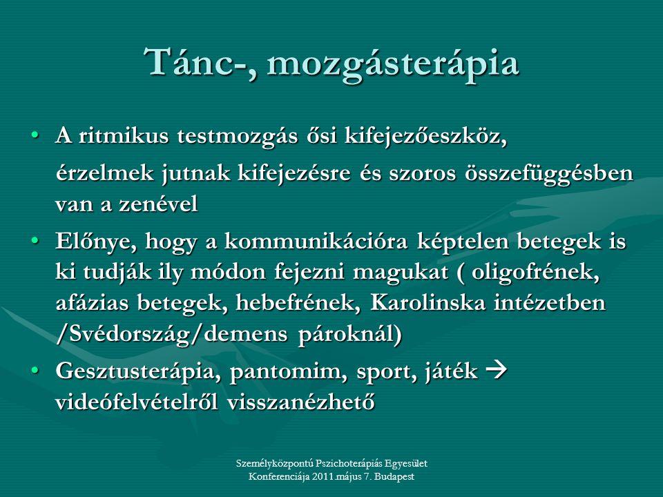 Személyközpontú Pszichoterápiás Egyesület Konferenciája 2011.május 7. Budapest Tánc-, mozgásterápia •A ritmikus testmozgás ősi kifejezőeszköz, érzelme