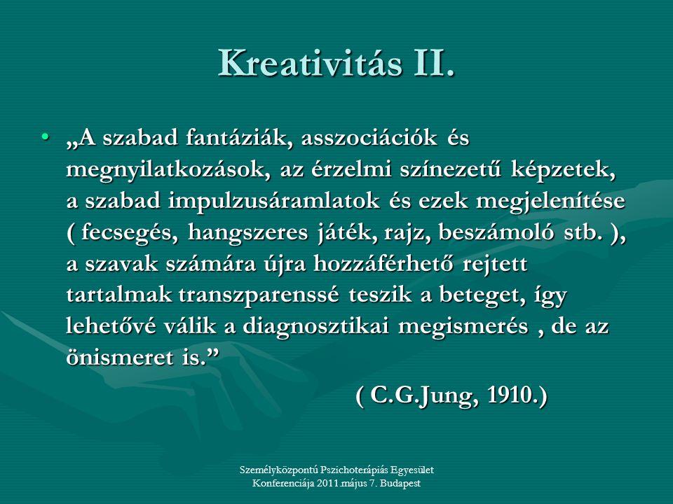 """Személyközpontú Pszichoterápiás Egyesület Konferenciája 2011.május 7. Budapest Kreativitás II. •""""A szabad fantáziák, asszociációk és megnyilatkozások,"""