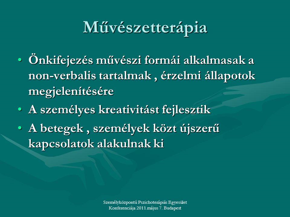 Személyközpontú Pszichoterápiás Egyesület Konferenciája 2011.május 7. Budapest Művészetterápia •Önkifejezés művészi formái alkalmasak a non-verbalis t