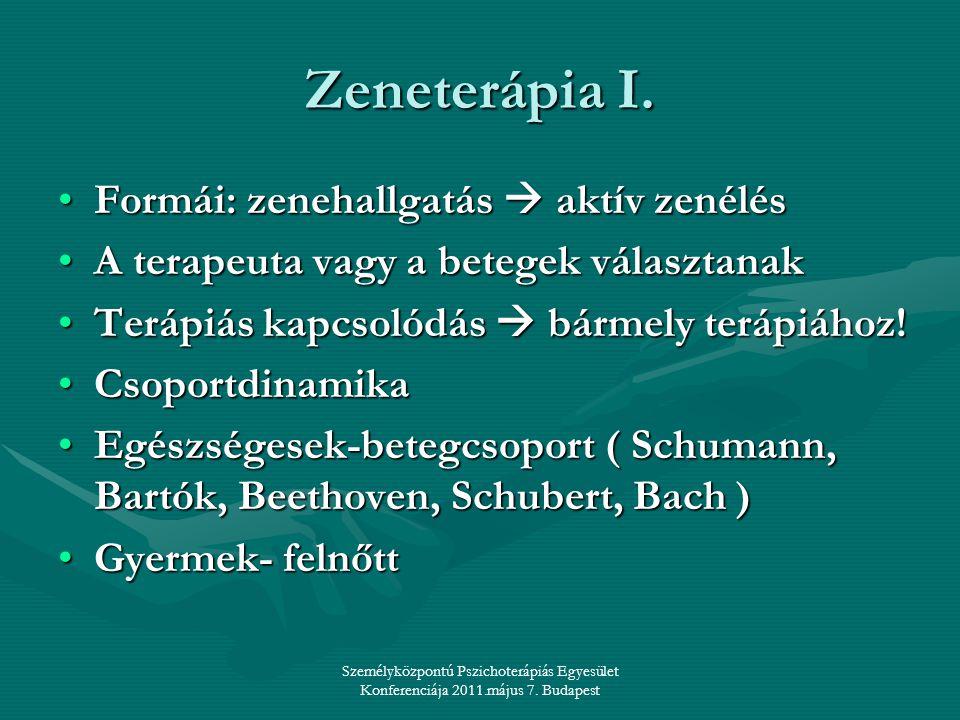 Személyközpontú Pszichoterápiás Egyesület Konferenciája 2011.május 7. Budapest Zeneterápia I. •Formái: zenehallgatás  aktív zenélés •A terapeuta vagy