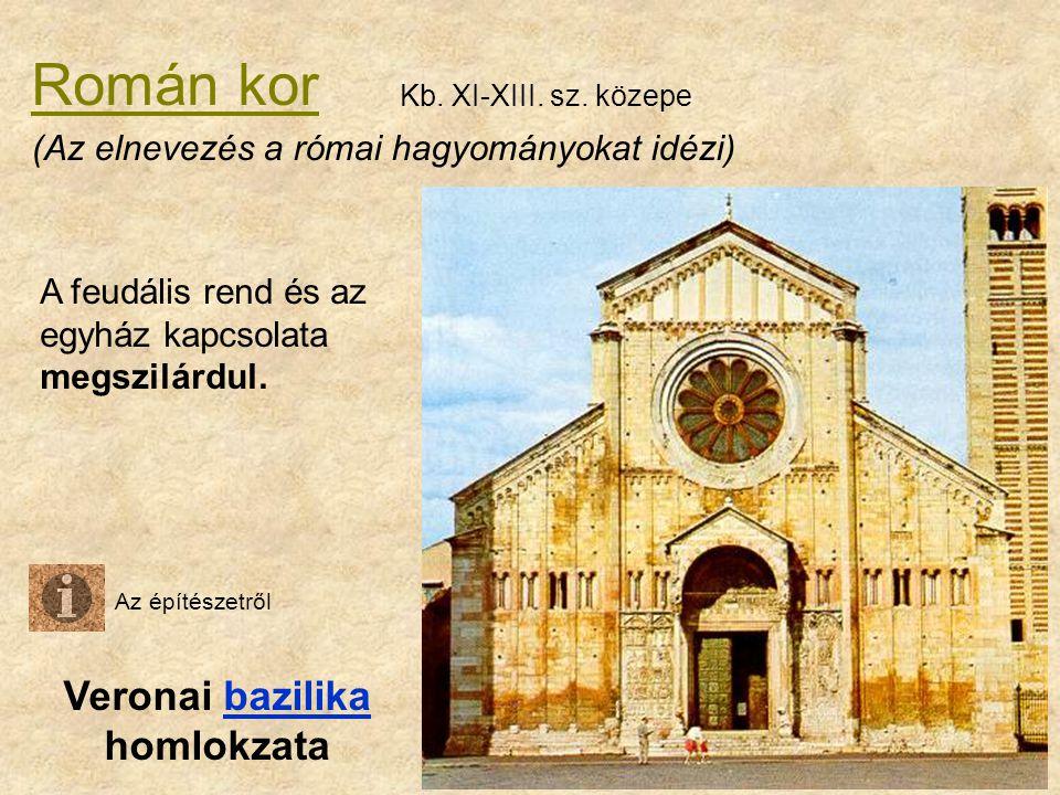 Román kor Veronai bazilika homlokzatabazilika A feudális rend és az egyház kapcsolata megszilárdul. (Az elnevezés a római hagyományokat idézi) Kb. XI-