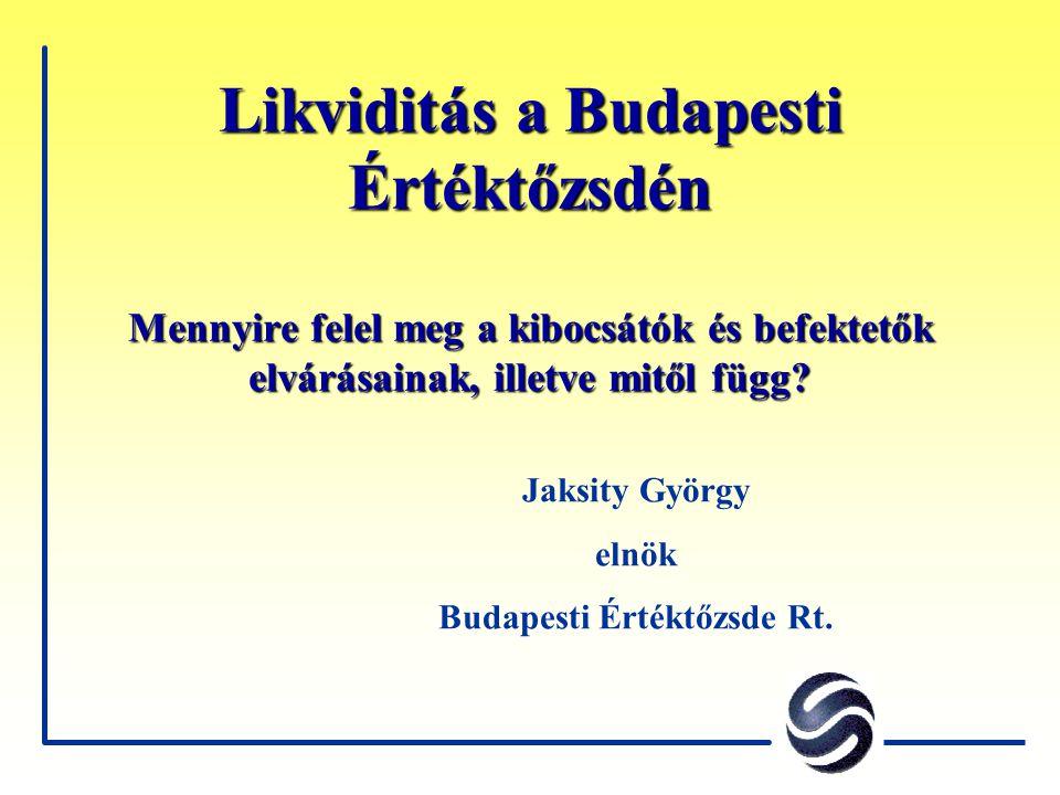 A tények F A magyar tőkepiac kis, nyitott piac F A tőzsdén forgó részvények közel három- negyede külföldi kézben van F A budapesti részvénypiac kiszolgáltatott a nemzetközi piaci tendenciáknak F A forgalom koncentrációja magas F 2001-ben a BÉT forgalma 60 százalékkal csökkent