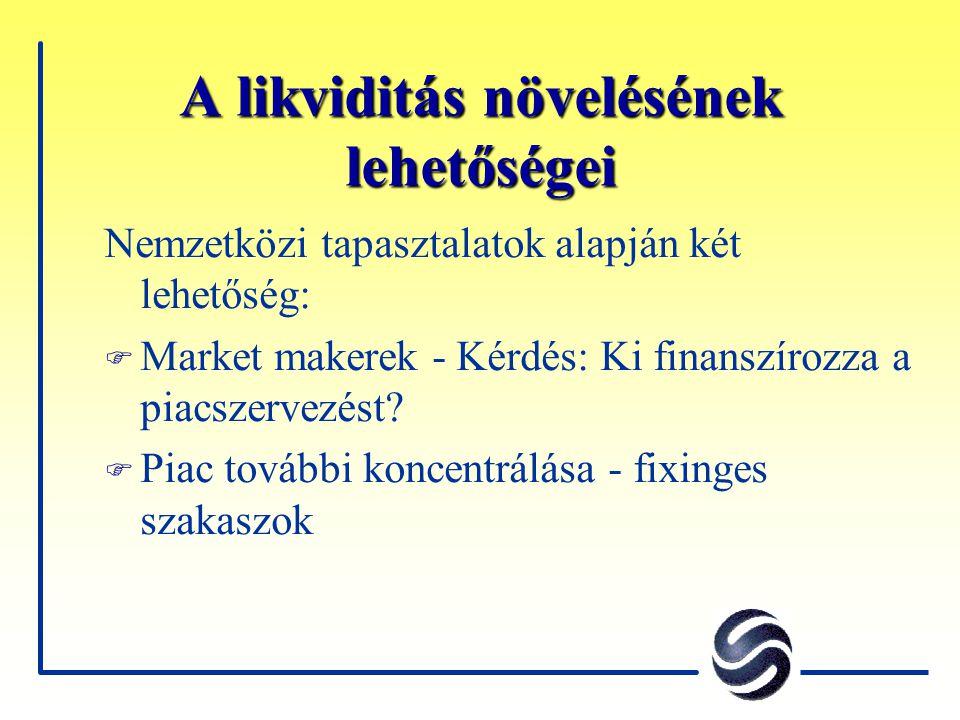 A likviditás növelésének lehetőségei Nemzetközi tapasztalatok alapján két lehetőség: F Market makerek - Kérdés: Ki finanszírozza a piacszervezést.