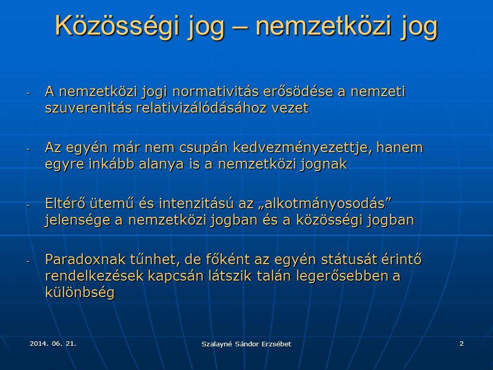 2014. 06. 21.2014. 06. 21.2014. 06. 21. Szalayné Sándor Erzsébet 2 Közösségi jog – nemzetközi jog - A nemzetközi jogi normativitás erősödése a nemzeti
