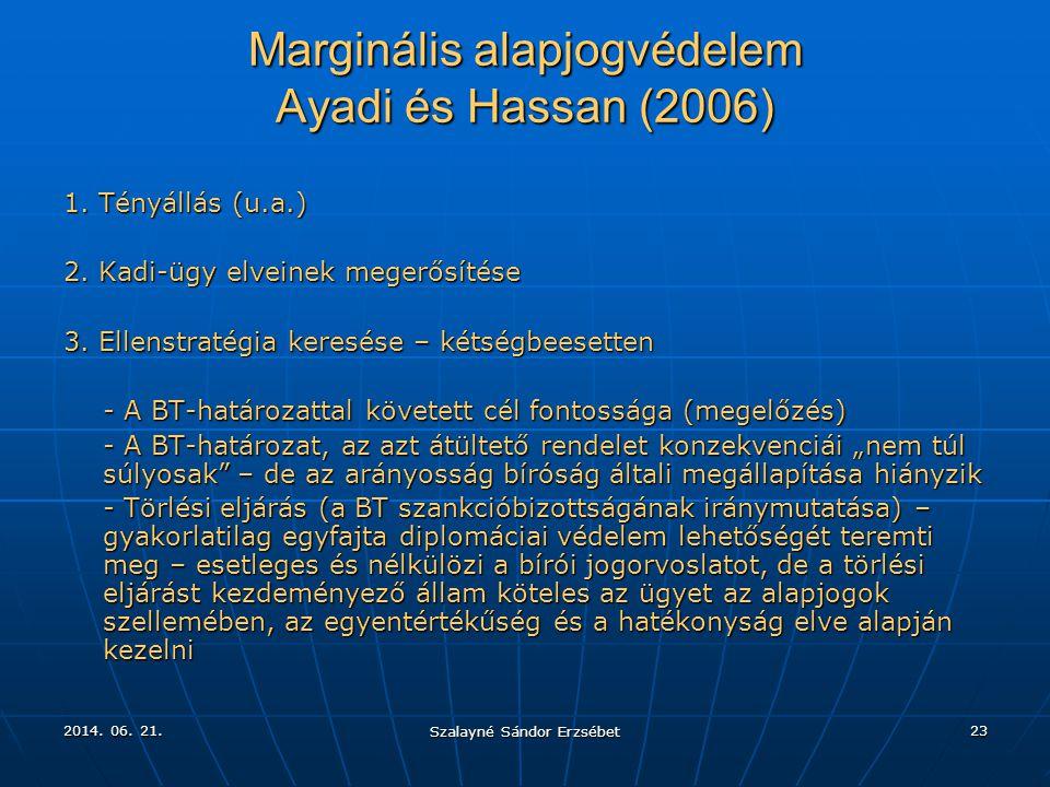 2014. 06. 21.2014. 06. 21.2014. 06. 21. Szalayné Sándor Erzsébet 23 Marginális alapjogvédelem Ayadi és Hassan (2006) 1. Tényállás (u.a.) 2. Kadi-ügy e