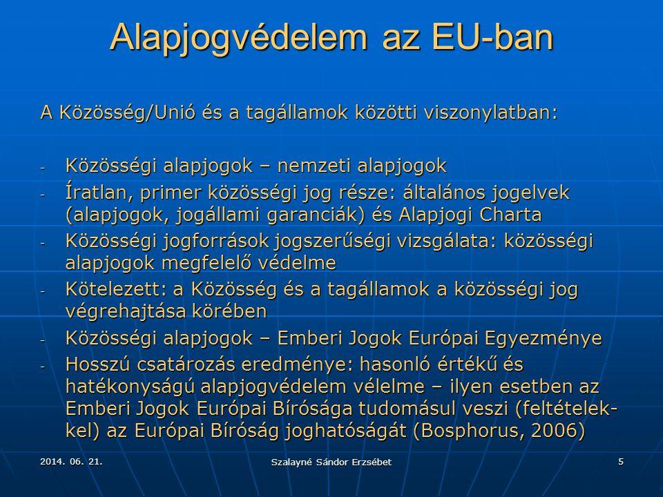 2014. 06. 21.2014. 06. 21.2014. 06. 21. Szalayné Sándor Erzsébet 5 Alapjogvédelem az EU-ban A Közösség/Unió és a tagállamok közötti viszonylatban: - K