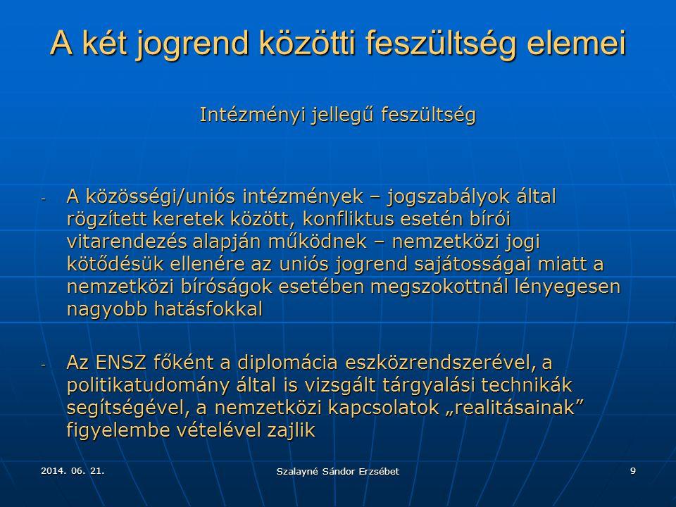 2014. 06. 21.2014. 06. 21.2014. 06. 21. Szalayné Sándor Erzsébet 9 A két jogrend közötti feszültség elemei Intézményi jellegű feszültség - A közösségi