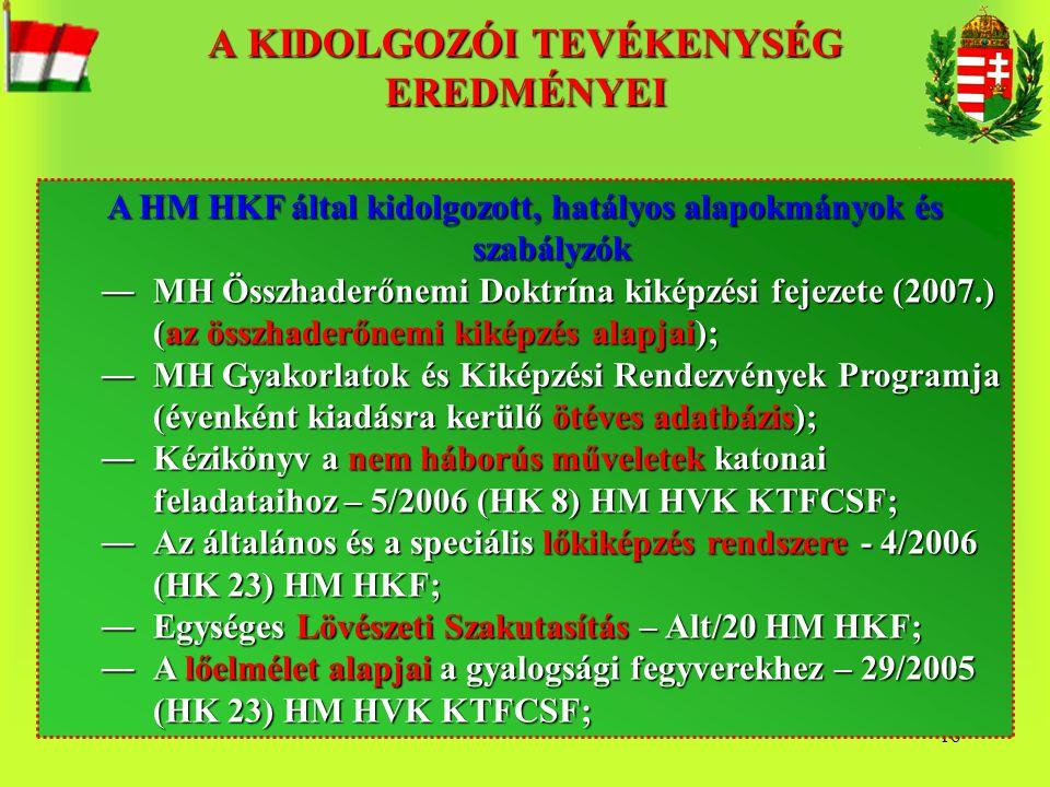 16 A HM HKF által kidolgozott, hatályos alapokmányok és szabályzók ―MH Összhaderőnemi Doktrína kiképzési fejezete (2007.) (az összhaderőnemi kiképzés