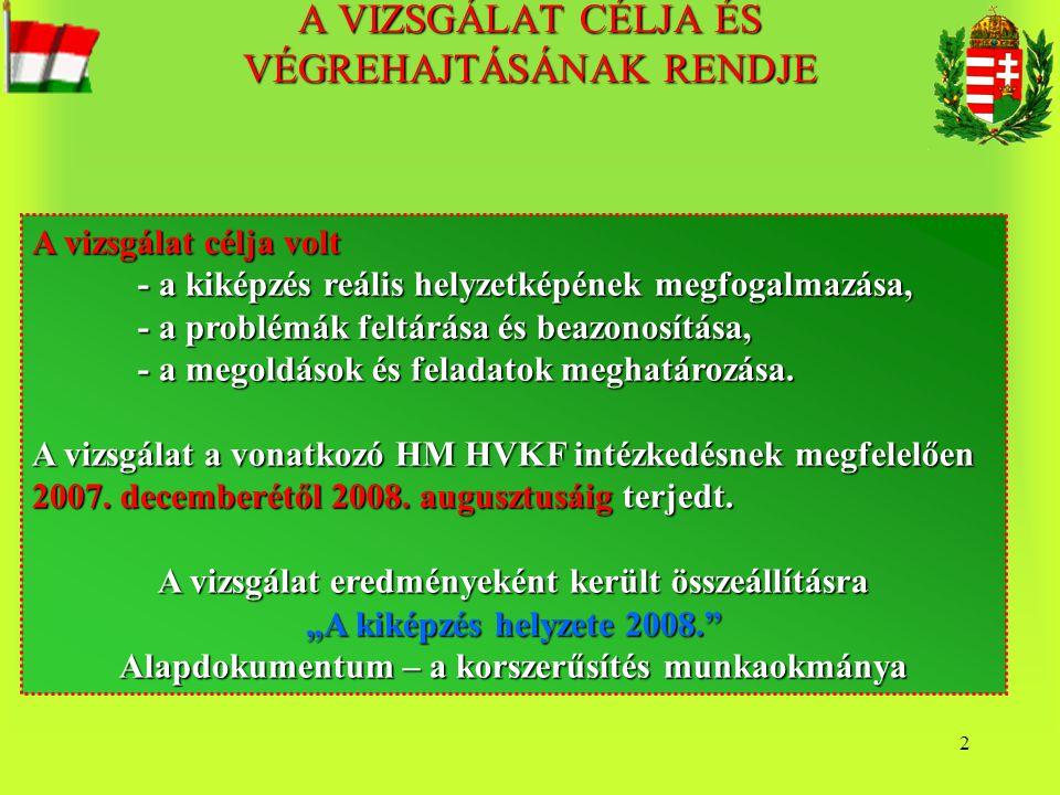 23 A HM HKF Kiképzési Osztály feladatai (9 fő) 1.A nemzetközi kiképzési rendezvények tervezésének irányítása; 2.Nemzetközi gyakorlatok keretgazda feladatai; 3.GYKRP kidolgozása; 4.TACEVAL, CREVAL felső szintű irányítása (elvek, VK szintű intézkedések kidolgozása); 5.Parancsnokok, törzsek felkészítésének szakirányítása; 6.Kamarai jogkör gyakorlása a tiszthelyettes képzés felkészítésben; 7.Műveleti tapasztalatok feldolgozásának, beépítésének irányítása 8.A katonai felső- és középszintű oktatás általános katonai követelményeinek meghatározása 9.Általános katonai kiképzés és fizikai felkészítés szakirányítása 10.MH szintű sportbajnokságok szervezése, szakmai felügyelete 11.Az MH kiképzés-technikai eszközök, szimulációs rendszerek fejlesztési követelményeinek meghatározása, a fejlesztés felügyelete