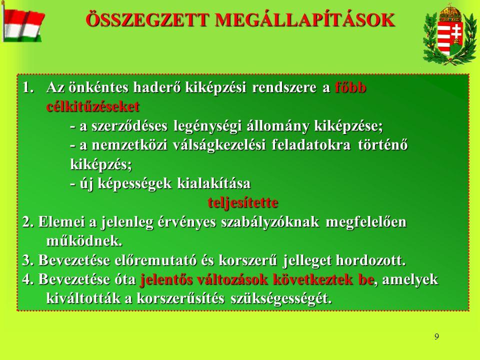 9 1.Az önkéntes haderő kiképzési rendszere a főbb célkitűzéseket - a szerződéses legénységi állomány kiképzése; - a nemzetközi válságkezelési feladato