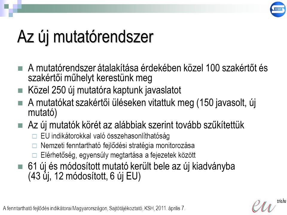A fenntartható fejlődés indikátorainak témakörei  Társadalmi és gazdasági fejlődés  Fenntartható termelés és fogyasztás  Társadalmi integráció  Demográfiai változások  Népegészségügy  Klímaváltozás, energetika  Fenntartható közlekedés  Természeti erőforrások  Globális partnerség  Kormányzás és közélet A fenntartható fejlődés indikátorai Magyarországon, Sajtótájékoztató, KSH, 2011.