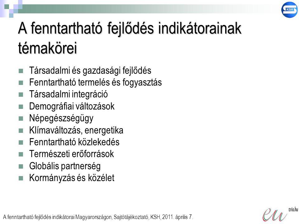 A mutatók hierarchikus rendszere  Első szint (9 főmutató)  Második szint (30 magyarázó mutató)  Harmadik szint (110 részletező mutató)  Új mutató csak ezen a szinten szerepel A fenntartható fejlődés indikátorai Magyarországon, Sajtótájékoztató, KSH, 2011.