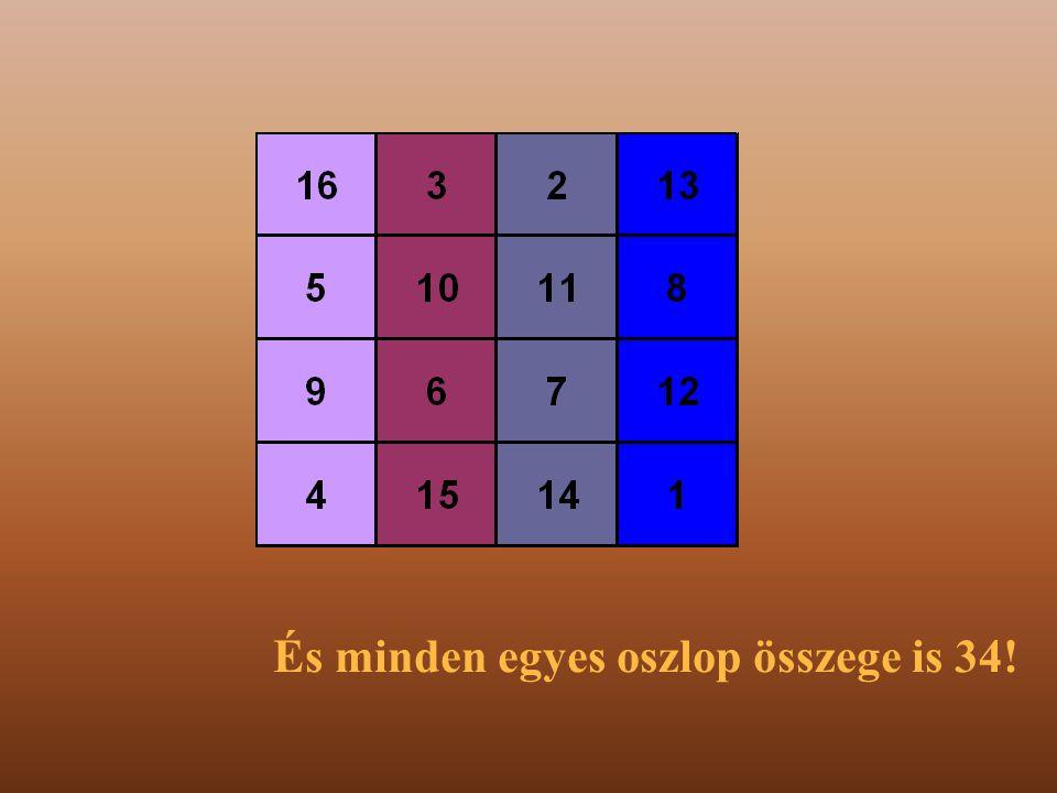 Minden egyes sor összege 34!