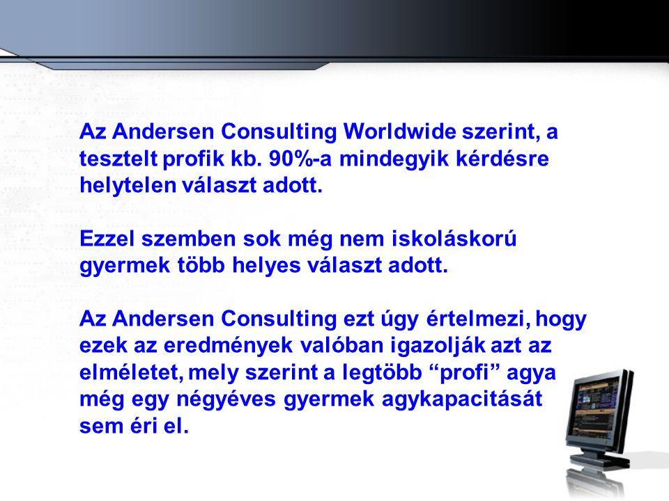 Az Andersen Consulting Worldwide szerint, a tesztelt profik kb. 90%-a mindegyik kérdésre helytelen választ adott. Ezzel szemben sok még nem iskoláskor