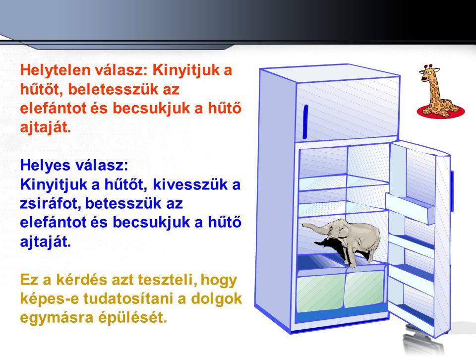 Helytelen válasz: Kinyitjuk a hűtőt, beletesszük az elefántot és becsukjuk a hűtő ajtaját. Helyes válasz: Kinyitjuk a hűtőt, kivesszük a zsiráfot, bet