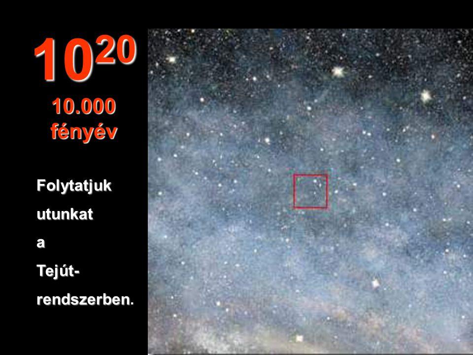 10 19 1.000 fényév Elkezdünkutazni a Tejútban, a mi galaxisunkban galaxisunkban.
