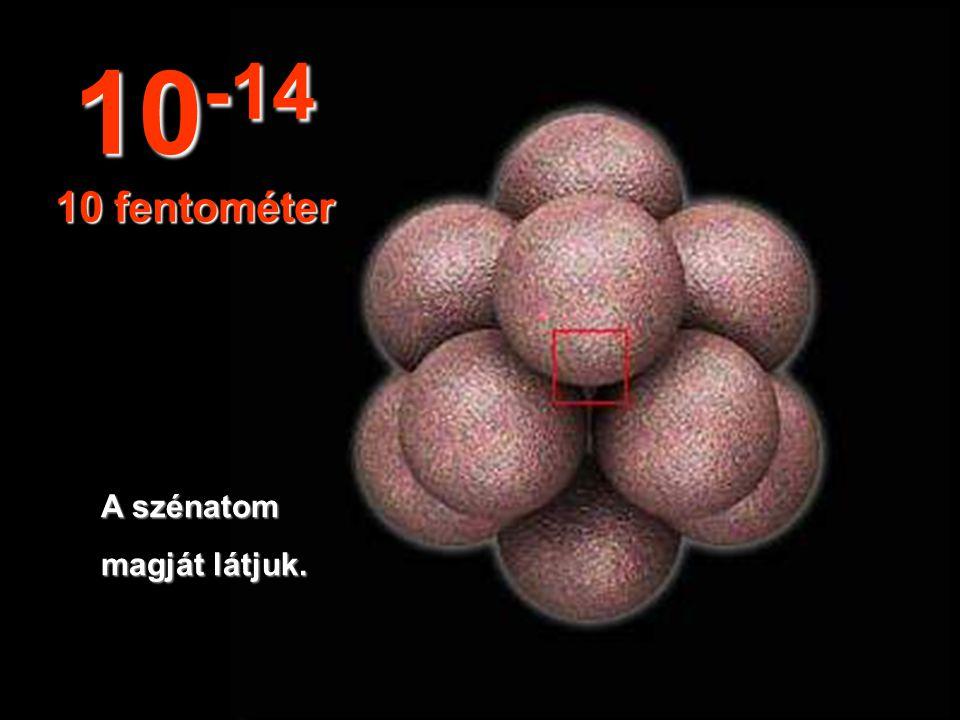 Ilyen elképzelhetetlen és apró méretben találhatjuk meg az atommagot. 10 -13 100 fentométer